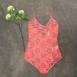 FREE PEOPLE fp beach pink lace teddy sexy new L